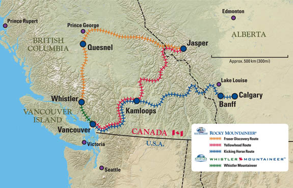 Rocky Mountaineer®: Route Map ::RailsNW:: on us truck routes map, us train routes map, us air routes map, us cruise routes map, railroad routes map,
